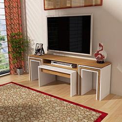 Just Home Peri Orta/Zigon Sehpalı Tv Ünitesi - Teak / Beyaz