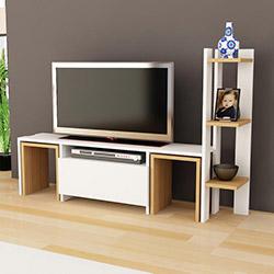 Just Home Matilda Tv Ünitesi - Beyaz / Ceviz