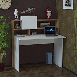 Just Home Golden Çalışma Masası - Beyaz / Teak