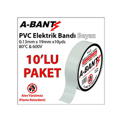 A-Bant 10'lu Elektrik Bandı - Beyaz