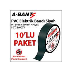 A-Bant 10'lu Elektrik Bandı - Siyah