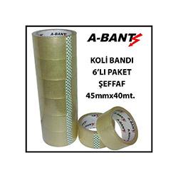 A-Bant 6'lı Şeffaf Koli Bandı - 40 m