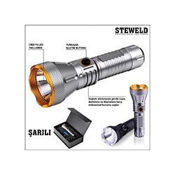 Steweld 608S Pro 700 Lümen Şarjlı Led El Feneri - Gri