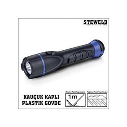 Steweld 961B Kauçuk Kaplı Plastik Gövde Led El Feneri - 170x36 mm