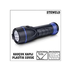 Steweld 962B Kauçuk Kaplı Plastik Gövde Led El Feneri - 200x60 mm