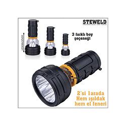 Steweld 987A Çift Fonksiyonlu Led El Feneri Işıldak - 117x55 mm