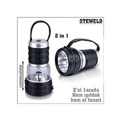 Steweld 989B Çift Fonksiyonlu 12 Led El Feneri Ve Işıldak