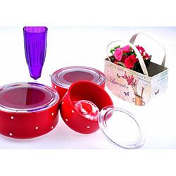 Keramika Kera Drops Puantiye 3 Parça Saklama Seti - Kırmızı Beyaz