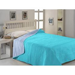 Fabress Düz Çift Kişilik Micro Saten Yatak Örtüsü - Mavi/Turkuaz