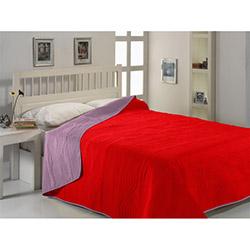 Fabress Micro Saten Çift Kişilik Yatak Örtüsü - Kırmızı/Sis