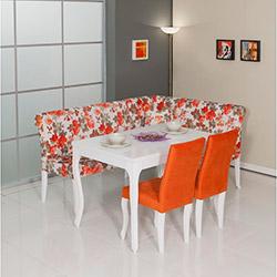 Modalife Menekşe Lux Mutfak Köşe Takımı - Turuncu