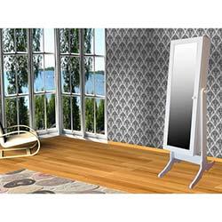 Just Home Trendy Aynalı Takı ve Aksesuar Dolabı - Beyaz / Fuşya