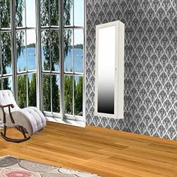 Just Home Trendy Duvara Asma Aynalı Takı ve Aksesuar Dolabı - Beyaz / Pembe
