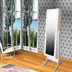Just Home Dream Aynalı Takı ve Aksesuar Dolabı - Beyaz / Siyah