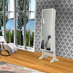 Just Home Dream One Aynalı Takı ve Aksesuar Dolabı - Beyaz / Siyah