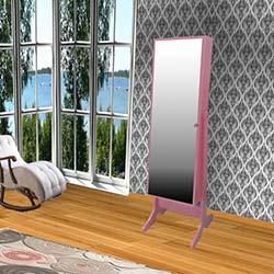 Just Home Caprise Aynalı Takı ve Aksesuar Dolabı - Pembe / Siyah
