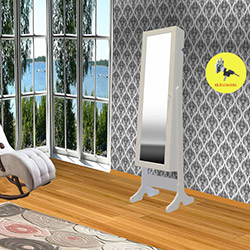 Just Home First Kilitli Aynalı Takı ve Aksesuar Dolabı - Beyaz / Fuşya