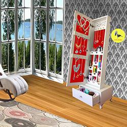 Just Home Trendy Gold Çekmeceli Kilitli Aynalı Takı ve Aksesuar Dolabı - Beyaz / Kırmızı