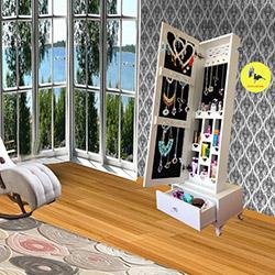 Just Home Trendy Gold Çekmeceli Kilitli Aynalı Takı ve Aksesuar Dolabı - Beyaz / Siyah