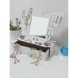 Just Home Masaüstü Aynalı Takı ve Makyaj Kutusu 1 - Beyaz