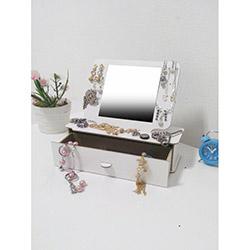 Just Home Masaüstü Aynalı Takı ve Makyaj Kutusu 2 - Beyaz