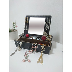 Just Home Masaüstü Aynalı Takı ve Makyaj Kutusu 2 - Siyah