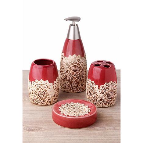 Simple Living G1255 4'lü Seramik Banyo Seti - Kırmızı