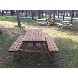 Garden Emprenyeli Kahve Piknik Masası - 6 Kişilik
