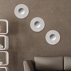 Just Home 3'lü Dekoratif Ayna - Beyaz