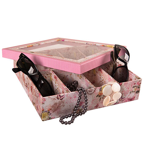 Just Home 8 Bölmeli Floral Butterfly Pencereli Organizer - 28x28 cm