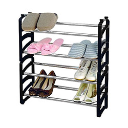 Comfy Home 4 Raflı Ayakkabılık - Siyah