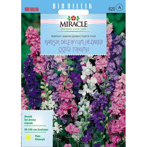 Miracle Hezaren Çiçeği - Delphinium Süvari Mahmuzu Çiçeği - 450 Tohum