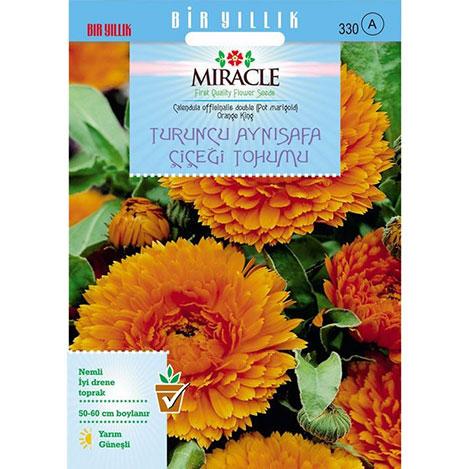 Miracle Turuncu Katmerli Aynı Safa Çiçeği Tohumu - 300 Tohum