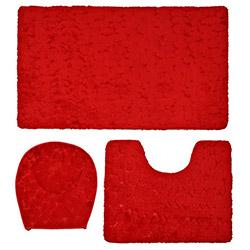 Verteks Ultrasoft Taş Desenli Banyo Seti - Kırmızı