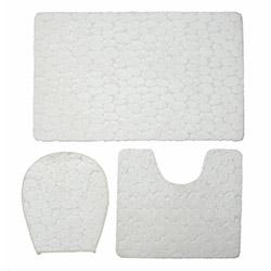 Verteks Ultrasoft Taş Desenli Banyo Seti - Beyaz