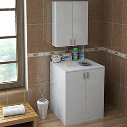 House Line Dolunay Çamaşır Makinesi Dolap Seti - Beyaz