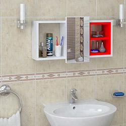 House Line Cansel Banyo Etajer - Beyaz / Kırmızı