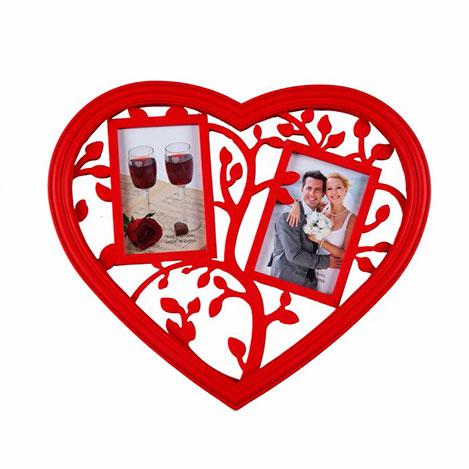 Simple Living YWF-064B 2'li Ahşap Kalp Çerçeve - Kırmızı