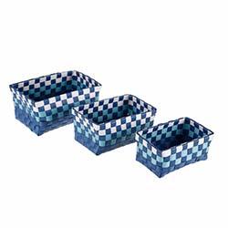 Simple Living YWF-102BL 3'lü Örgülü Kare Hasır Sepet - Mavi