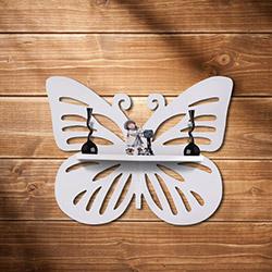 Simple Living YWF-172 Kelebek Duvar Rafı - Beyaz