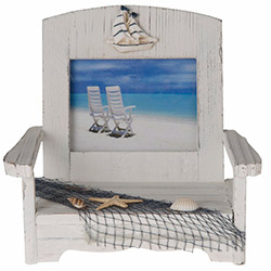 Simple Living P603AB Deniz Kabuklu ve Yelkenli Ahşap Çerçeve - 23x19 cm