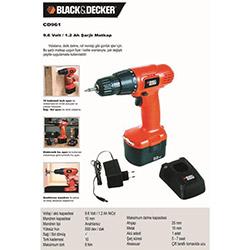 Black&Decker CD961 Şarjlı Matkap - 9,6 Volt (Hediyeli)