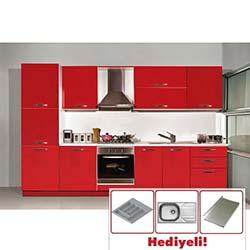 Kenyap Ruddy Laminat Kapaklı Mutfak - Parlak Kırmızı