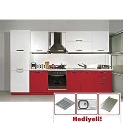 Kenyap Fresh Laminat Kapaklı Mutfak - Parlak Kırmızı&Parlak Beyaz