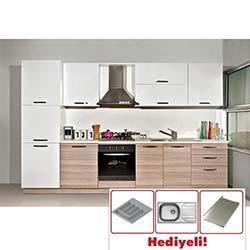 Kenyap Deep Highgloss Pvc Kapaklı Mutfak - Cordoba&Beyaz