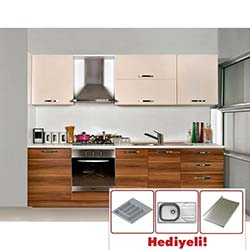 Kenyap Still Highgloss Pvc Kapaklı Mutfak Avanos - Ceviz&Parlak Krem