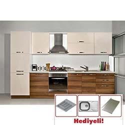 Kenyap Still Highgloss Pvc Kapaklı Mutfak - Avanos Ceviz&Parlak Krem