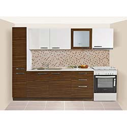 Kenyap Diamond Highgloss Pvc Kapaklı Mutfak - Parlak Beyaz&Parlak Ceviz
