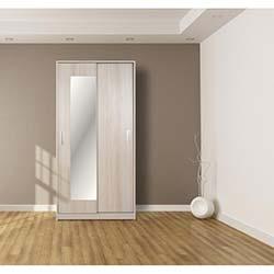 Kenyap Sürgü Ayna Kapaklı Gardırop - Beyaz Erik