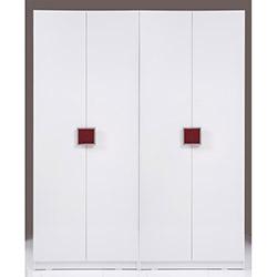 Kenyap Plus Stella 812614 4 Kapılı 3 Çekmeceli Sonsuz Gardırop - Parlak Beyaz / Bordo
